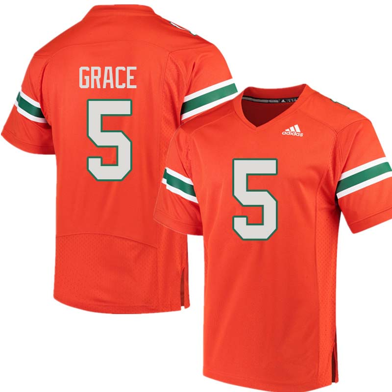 Adidas Miami Hurricanes #5 Jermaine Grace College Football Jerseys Sale-Orange