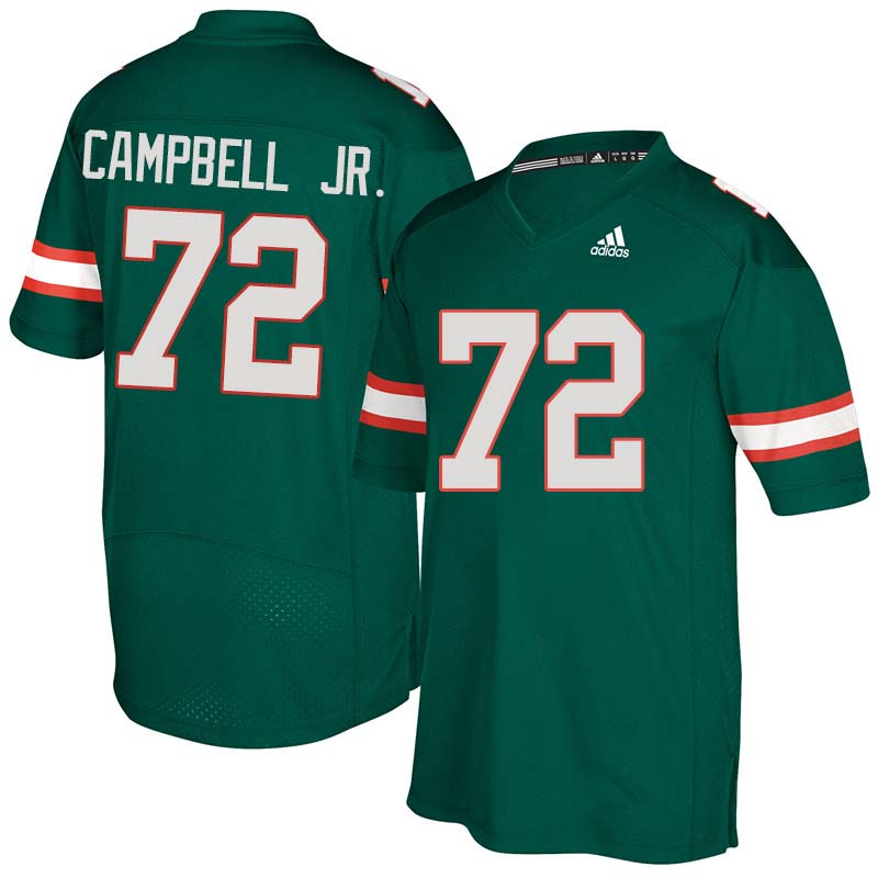 Adidas Miami Hurricanes #72 John Campbell Jr. College Football Jerseys Sale-Green
