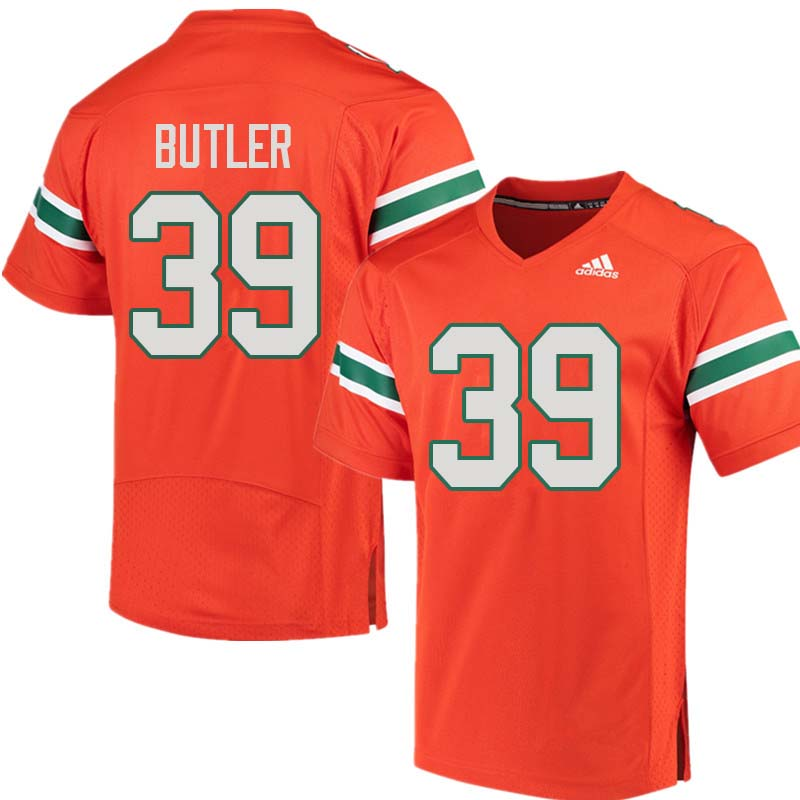 Adidas Miami Hurricanes #39 Jordan Butler College Football Jerseys Sale-Orange