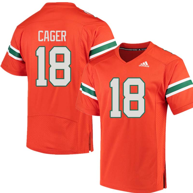 Adidas Miami Hurricanes #18 Lawrence Cager College Football Jerseys Sale-Orange