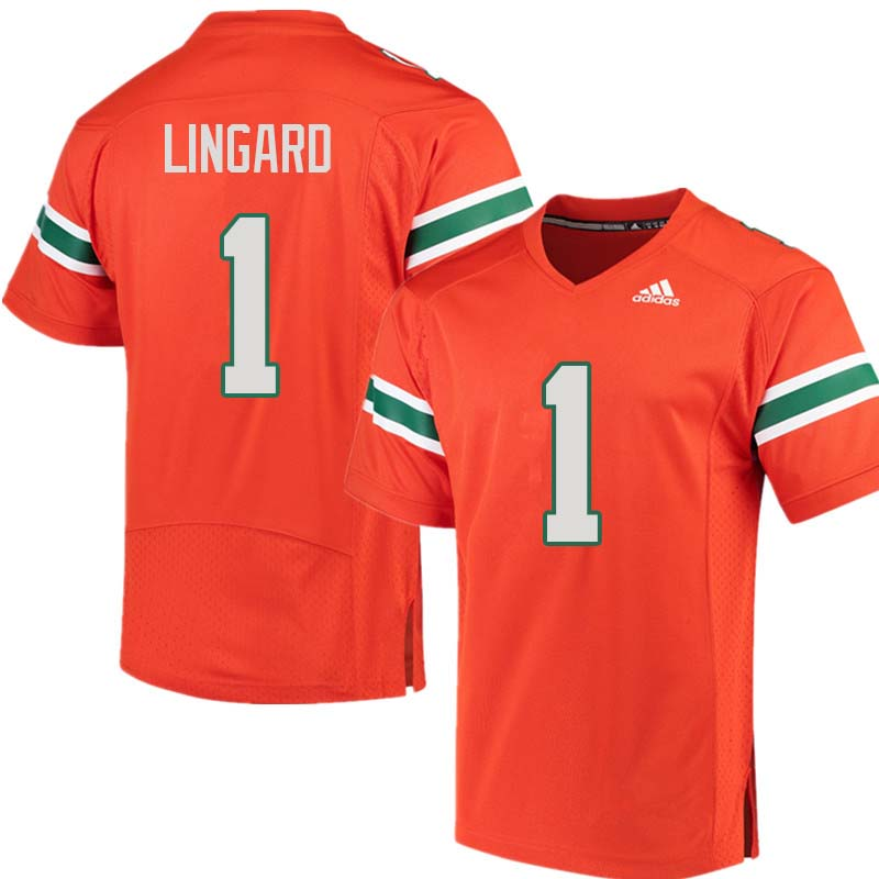 Adidas Miami Hurricanes #1 Lorenzo Lingard College Football Jerseys Sale-Orange