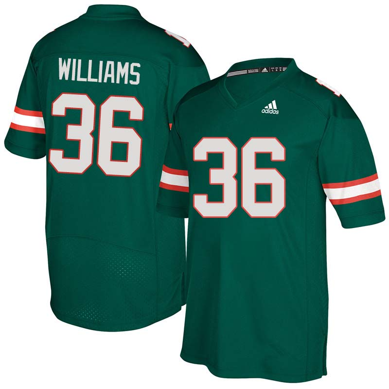 Adidas Miami Hurricanes #36 Marquez Williams College Football Jerseys Sale-Green