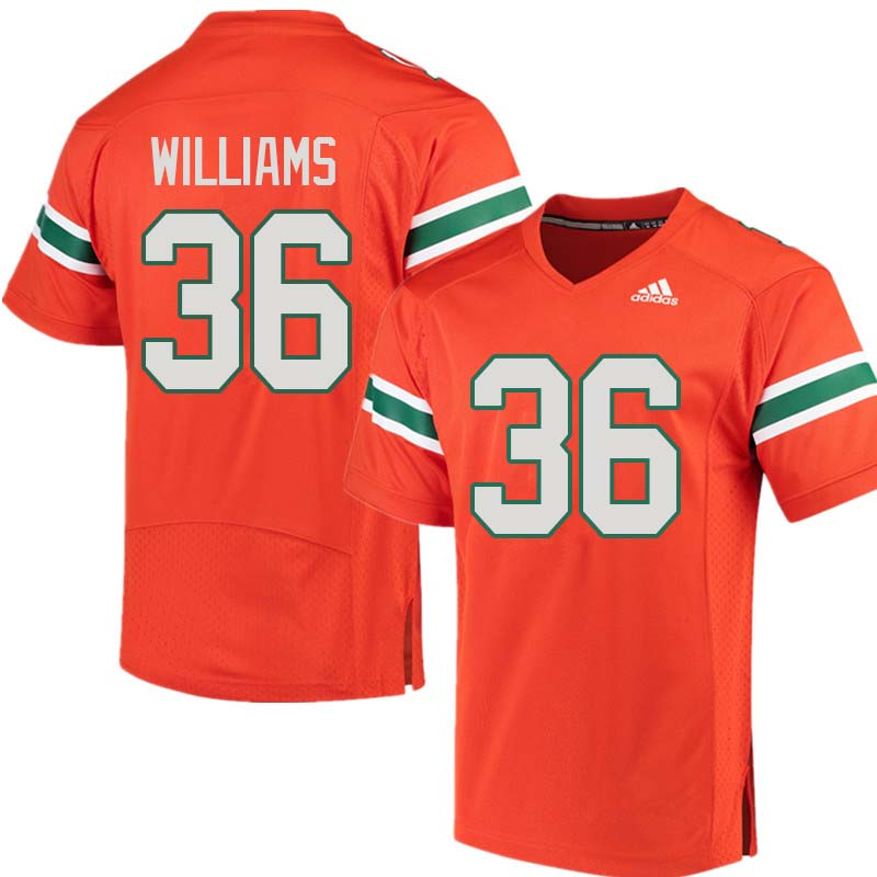Adidas Miami Hurricanes #36 Marquez Williams College Football Jerseys Sale-Orange