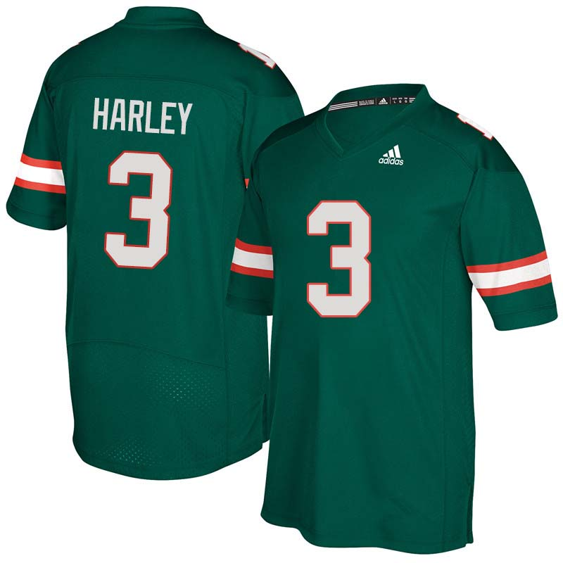 Adidas Miami Hurricanes #3 Mike Harley College Football Jerseys Sale-Green