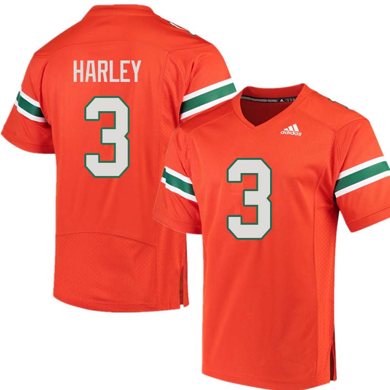 Adidas Miami Hurricanes #3 Mike Harley College Football Jerseys Sale-Orange