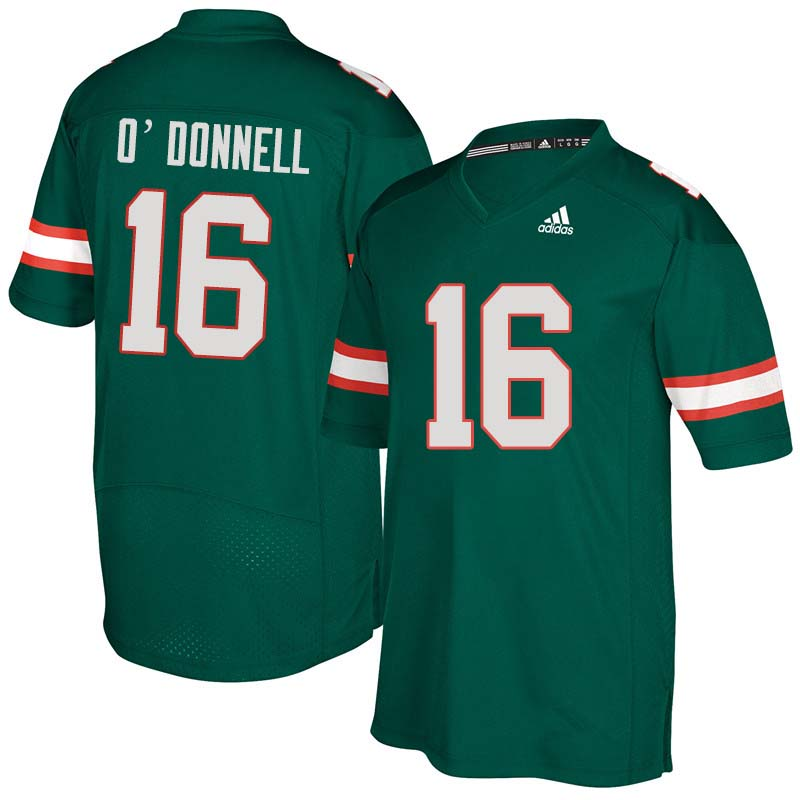 Adidas Miami Hurricanes #16 Pat O'Donnell College Football Jerseys Sale-Green