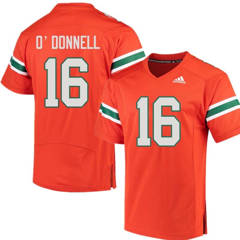 Adidas Miami Hurricanes #16 Pat O'Donnell College Football Jerseys Sale-Orange