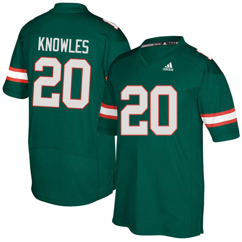Adidas Miami Hurricanes #20 Robert Knowles College Football Jerseys Sale-Green