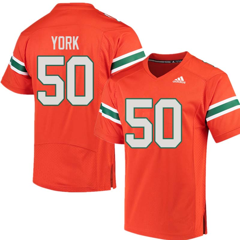 Adidas Miami Hurricanes #50 Sam York College Football Jerseys Sale-Orange