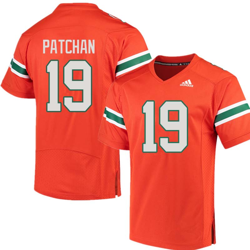 Adidas Miami Hurricanes #19 Scott Patchan College Football Jerseys Sale-Orange