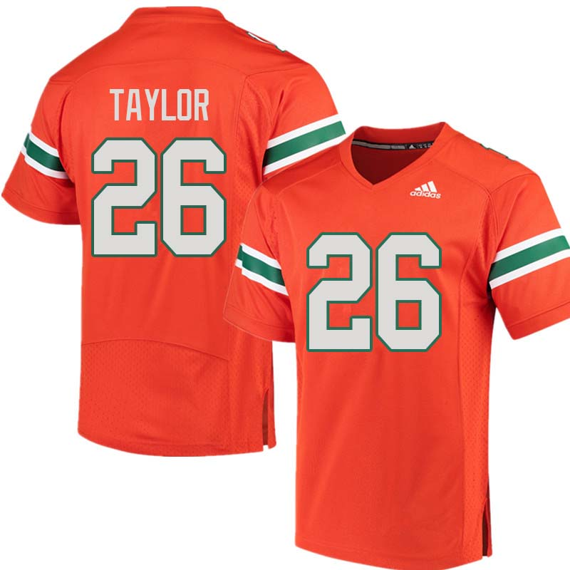Adidas Miami Hurricanes #26 Sean Taylor College Football Jerseys Sale-Orange