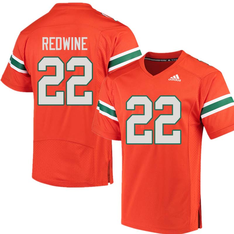 Adidas Miami Hurricanes #22 Sheldrick Redwine College Football Jerseys Sale-Orange