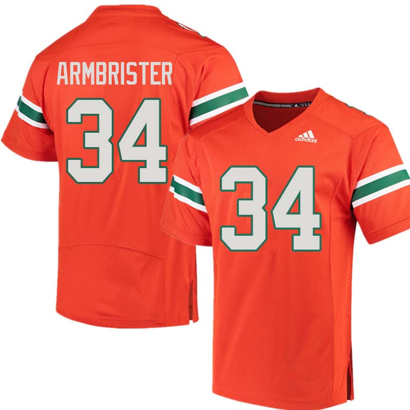 Adidas Miami Hurricanes #34 Thurston Armbrister College Football Jerseys Sale-Orange