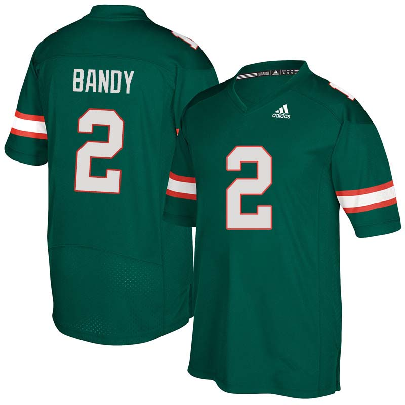 Adidas Miami Hurricanes #2 Trajan Bandy College Football Jerseys Sale-Green