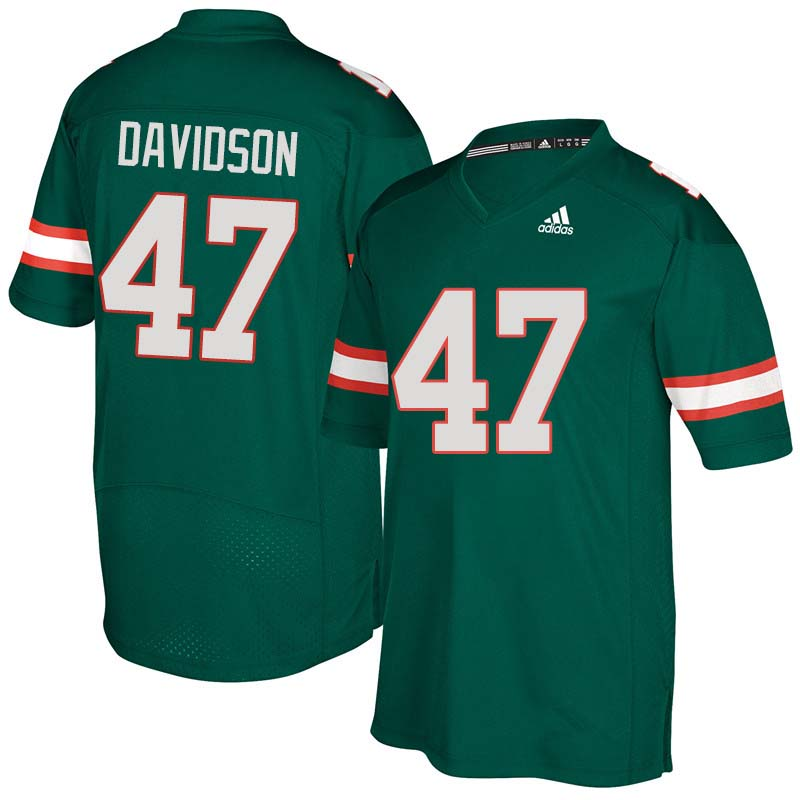 Adidas Miami Hurricanes #47 Turner Davidson College Football Jerseys Sale-Green