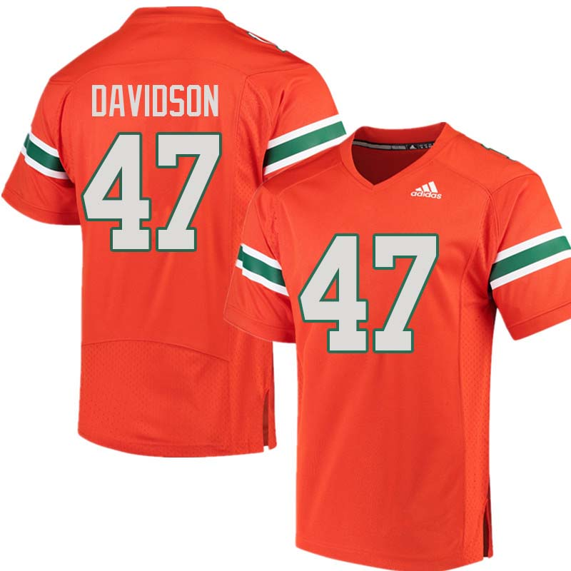 Adidas Miami Hurricanes #47 Turner Davidson College Football Jerseys Sale-Orange