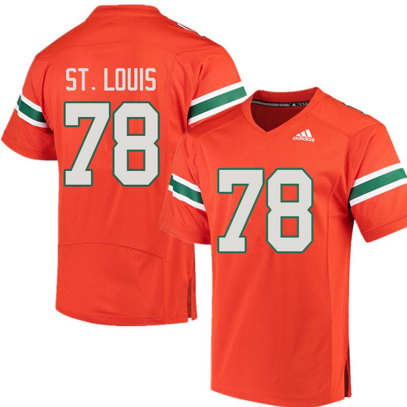 Adidas Miami Hurricanes #78 Tyree St. Louis College Football Jerseys Sale-Orange