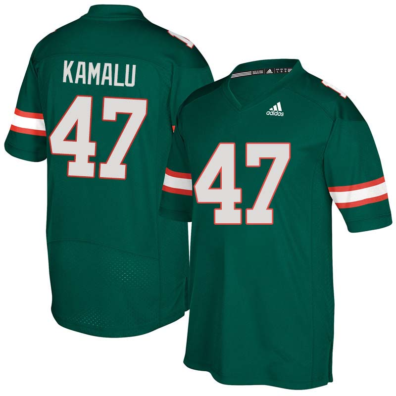 Adidas Miami Hurricanes #47 Ufomba Kamalu College Football Jerseys Sale-Green