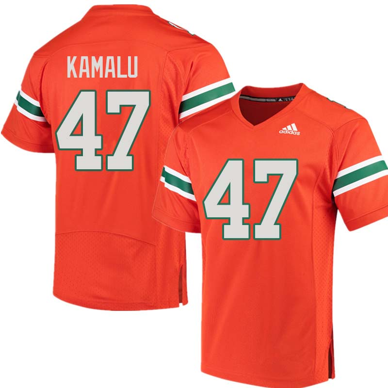 Adidas Miami Hurricanes #47 Ufomba Kamalu College Football Jerseys Sale-Orange