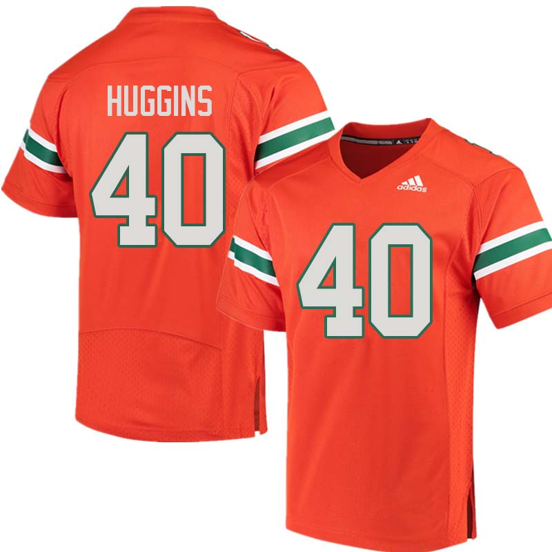 Adidas Miami Hurricanes #40 Will Huggins College Football Jerseys Sale-Orange