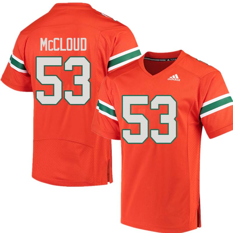 Adidas Miami Hurricanes #53 Zach McCloud College Football Jerseys Sale-Orange
