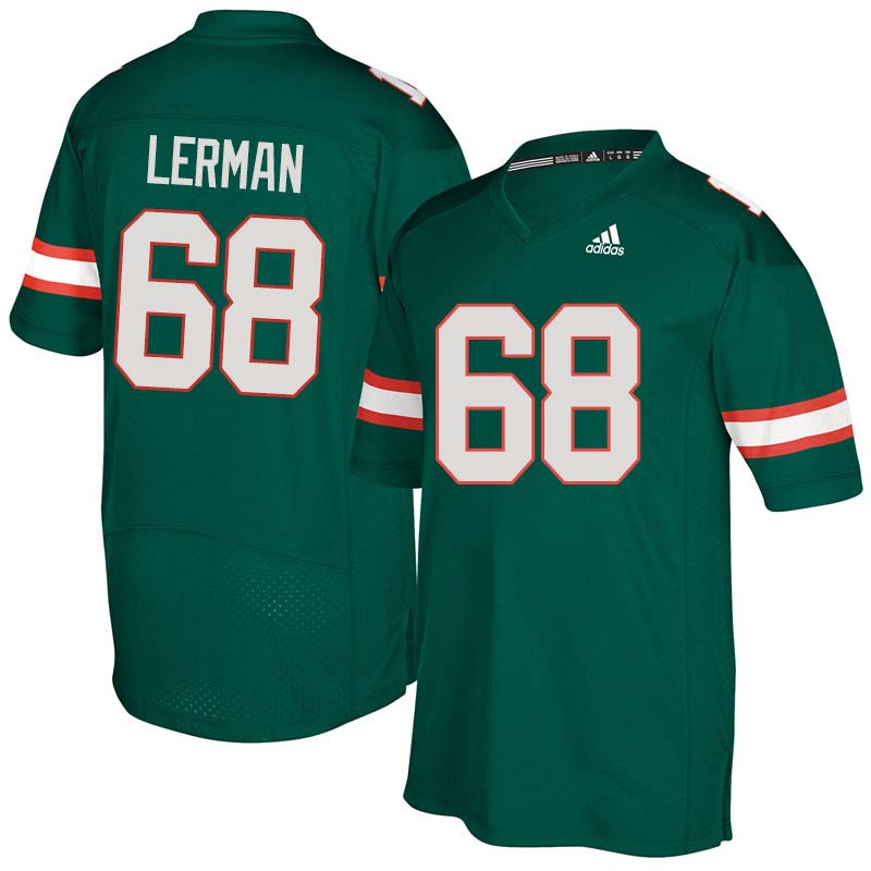 Adidas Miami Hurricanes #68 Zachary Lerman College Football Jerseys Sale-Green