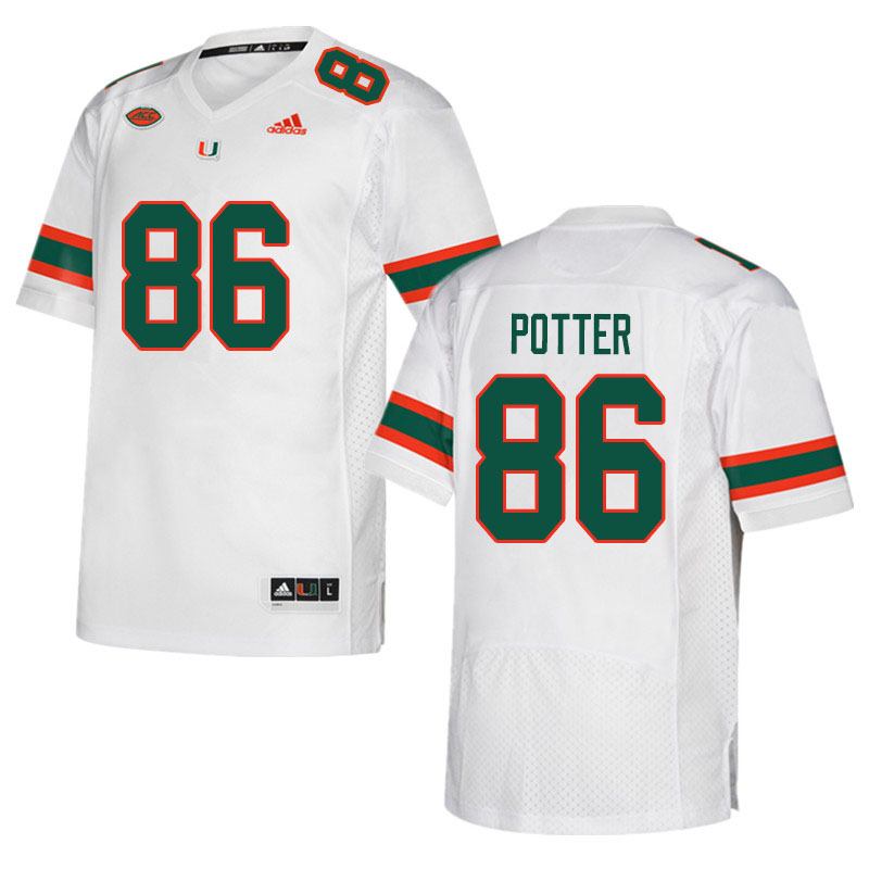 Men #86 Fred Potter Miami Hurricanes College Football Jerseys Sale-White
