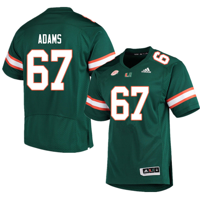 Men #67 Gavin Adams Miami Hurricanes College Football Jerseys Sale-Green