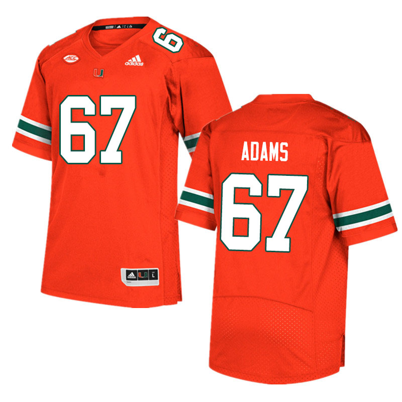 Men #67 Gavin Adams Miami Hurricanes College Football Jerseys Sale-Orange
