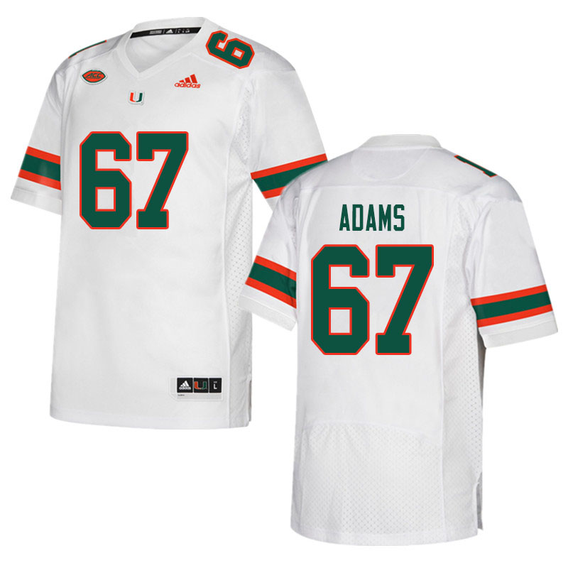 Men #67 Gavin Adams Miami Hurricanes College Football Jerseys Sale-White