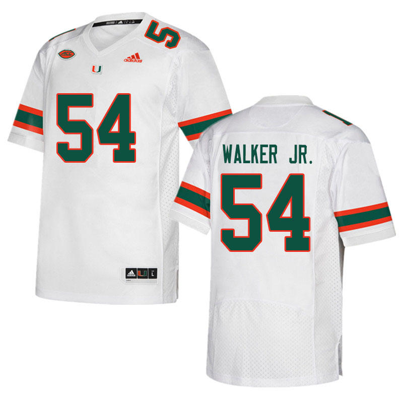 Men #54 Issiah Walker Jr. Miami Hurricanes College Football Jerseys Sale-White