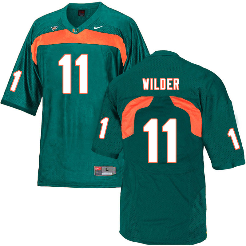 Nike Miami Hurricanes #11 De'Andre Wilder College Football Jerseys Sale-Green