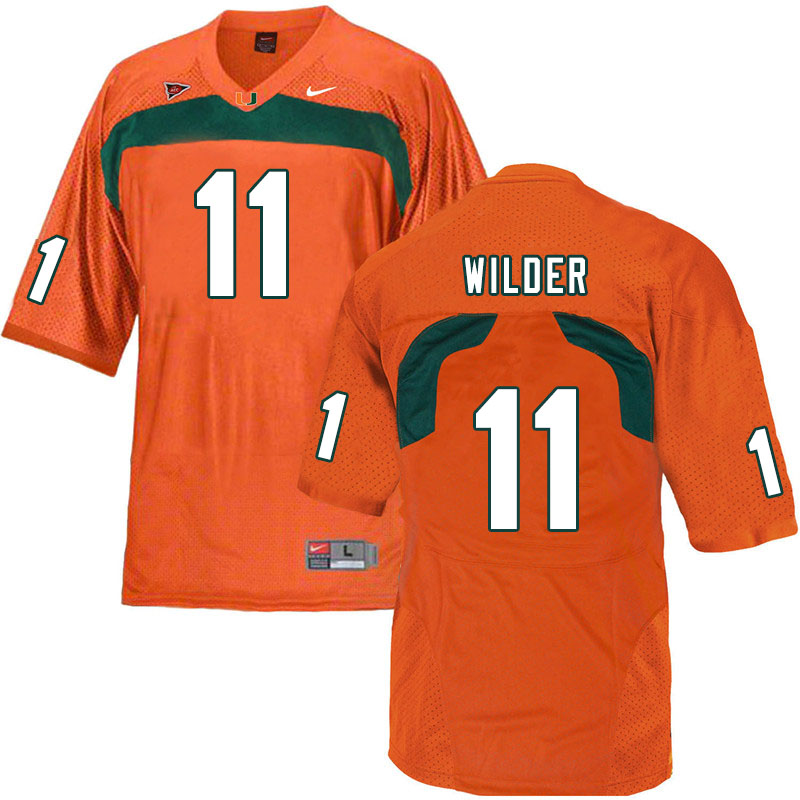 Nike Miami Hurricanes #11 De'Andre Wilder College Football Jerseys Sale-Orange