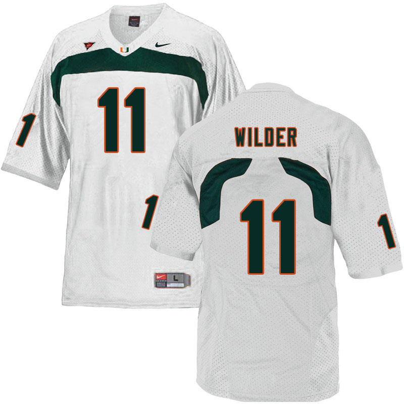 Nike Miami Hurricanes #11 De'Andre Wilder College Football Jerseys Sale-White