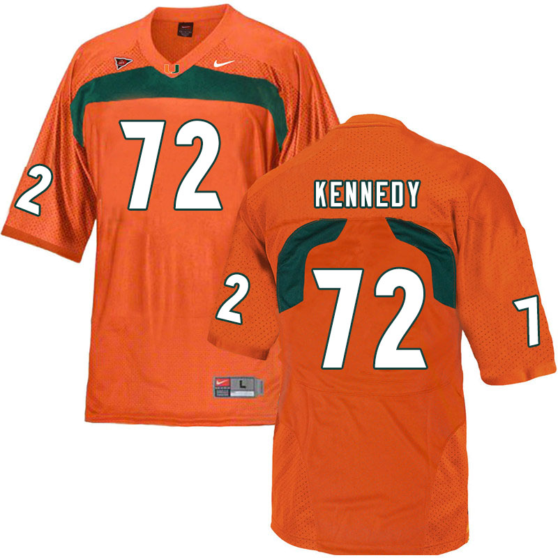 Nike Miami Hurricanes #72 Tommy Kennedy College Football Jerseys Sale-Orange