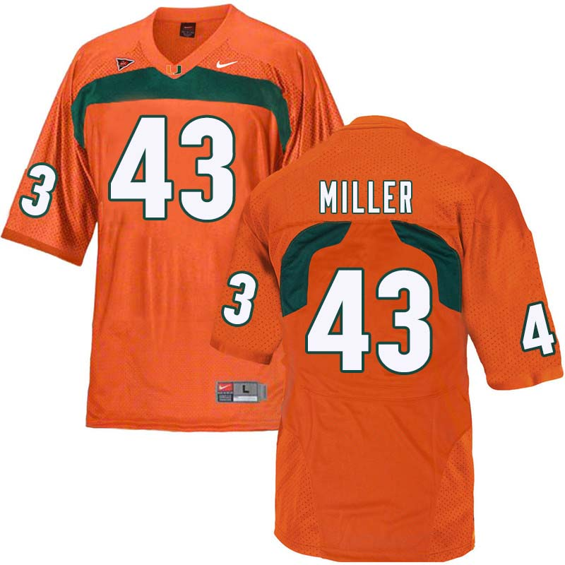 Nike Miami Hurricanes #43 Brian Miller College Football Jerseys Sale-Orange