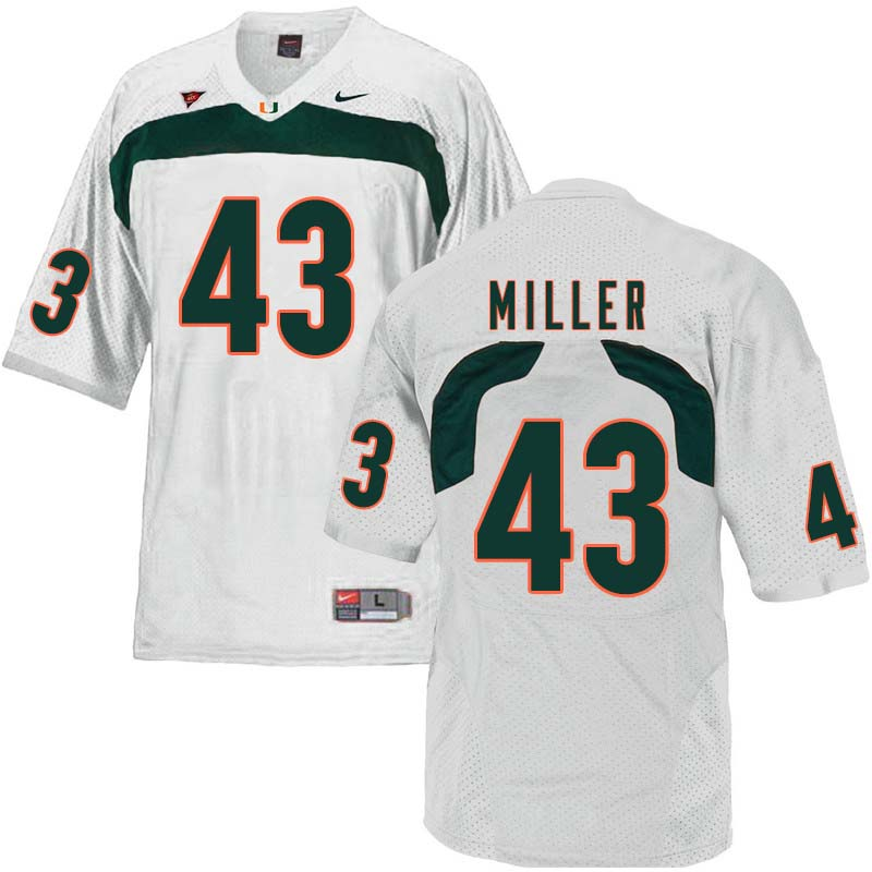 Nike Miami Hurricanes #43 Brian Miller College Football Jerseys Sale-White