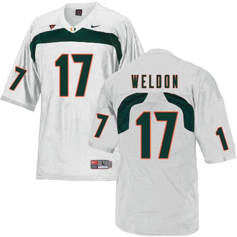 Nike Miami Hurricanes #17 Cade Weldon College Football Jerseys Sale-White