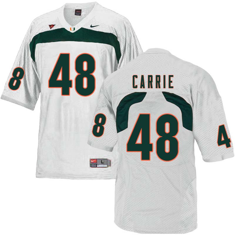 Nike Miami Hurricanes #48 Calvin Carrie College Football Jerseys Sale-White