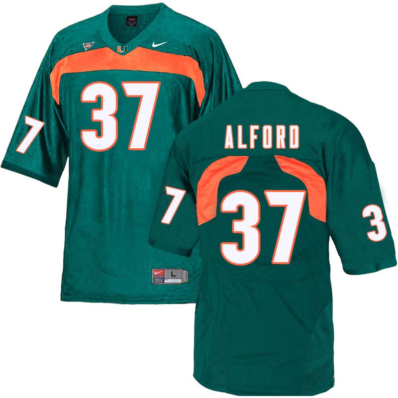 Nike Miami Hurricanes #37 Colvin Alford College Football Jerseys Sale-Green
