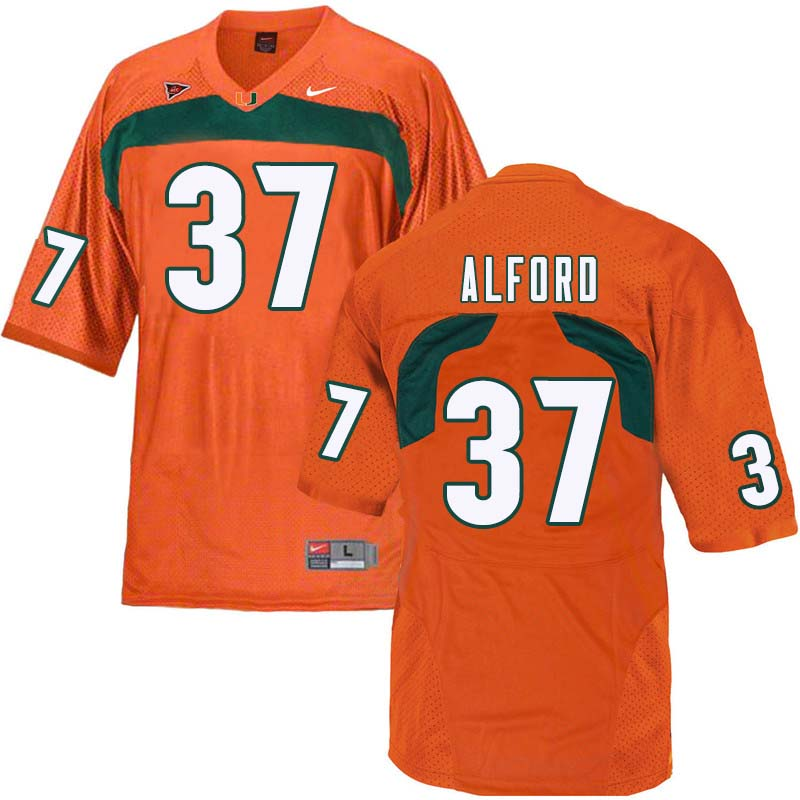 Nike Miami Hurricanes #37 Colvin Alford College Football Jerseys Sale-Orange