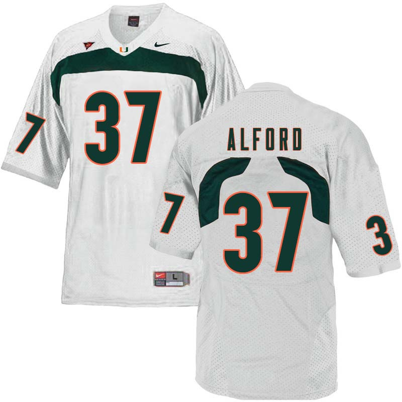 Nike Miami Hurricanes #37 Colvin Alford College Football Jerseys Sale-White