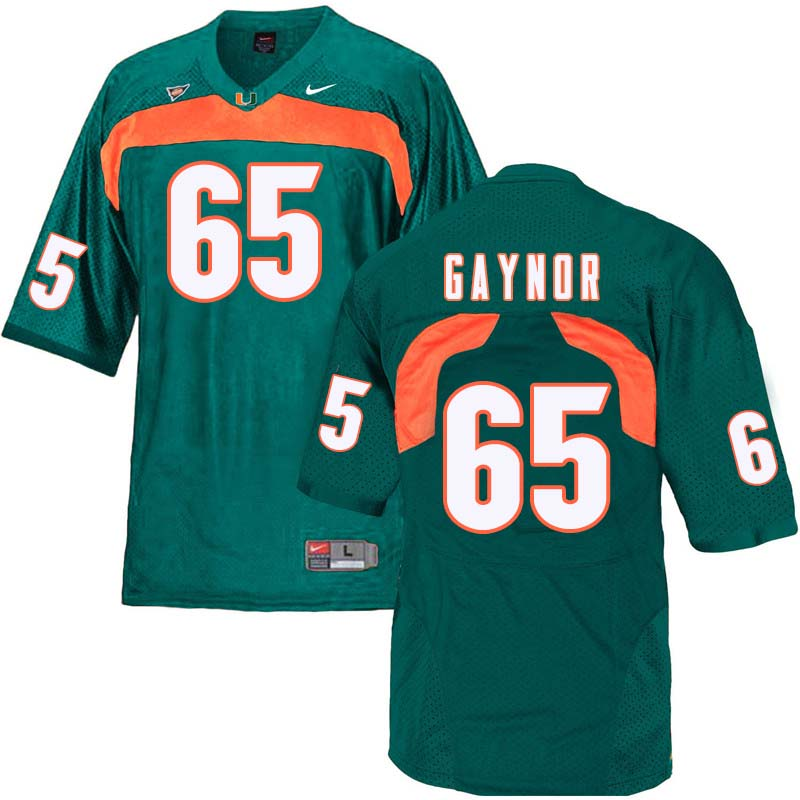 Nike Miami Hurricanes #65 Corey Gaynor College Football Jerseys Sale-Green