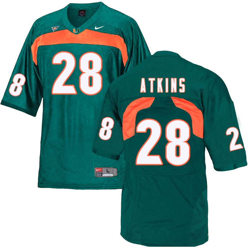 Nike Miami Hurricanes #28 Crispian Atkins College Football Jerseys Sale-Green