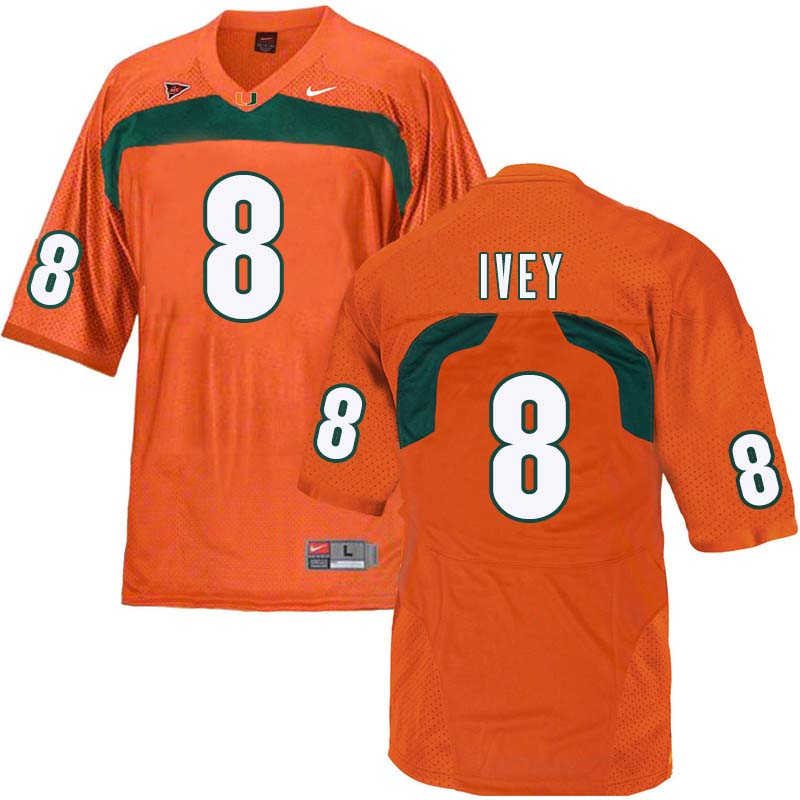 Nike Miami Hurricanes #8 DJ Ivey College Football Jerseys Sale-Orange