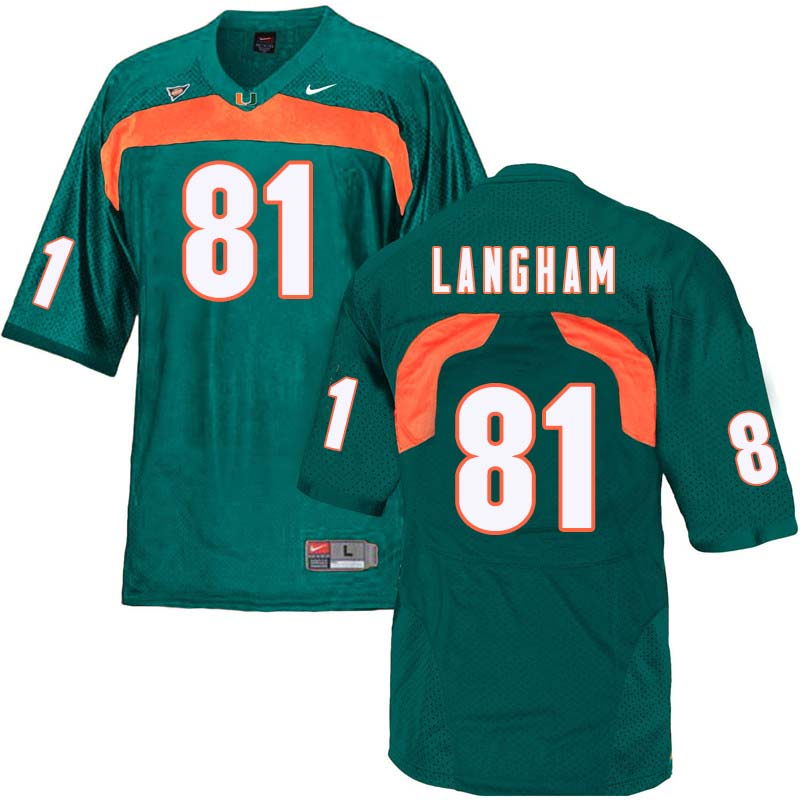 Nike Miami Hurricanes #81 Darrell Langham College Football Jerseys Sale-Green