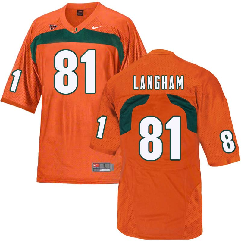 Nike Miami Hurricanes #81 Darrell Langham College Football Jerseys Sale-Orange