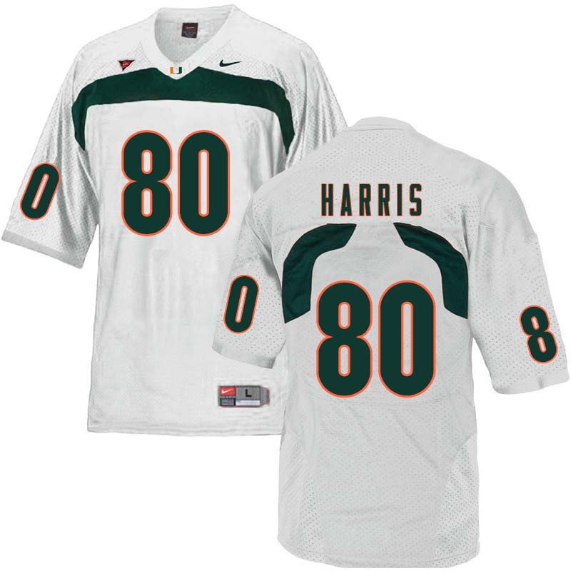 Nike Miami Hurricanes #80 Dayall Harris College Football Jerseys Sale-White