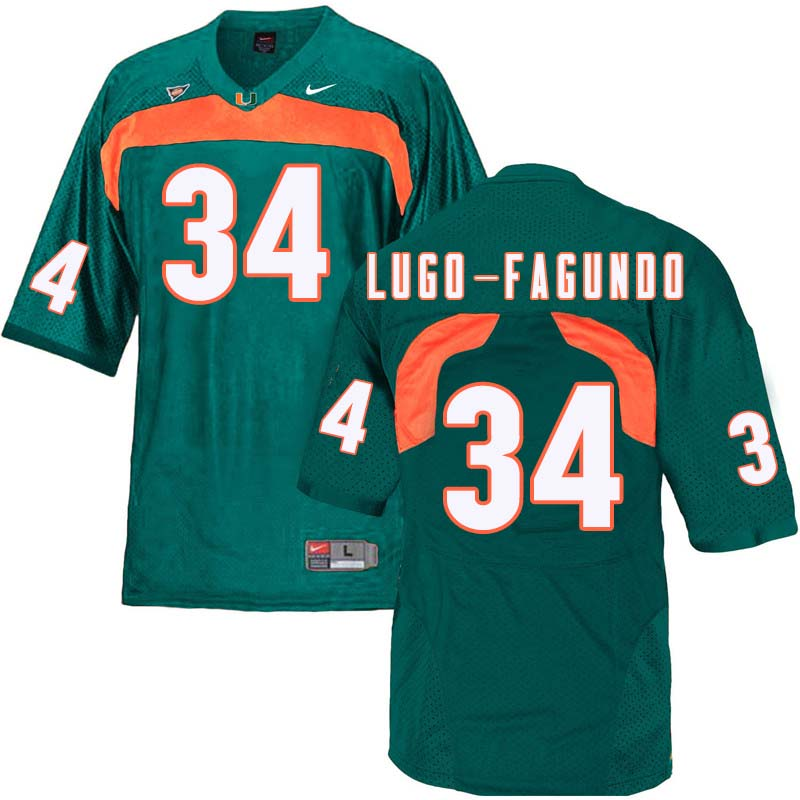 Nike Miami Hurricanes #34 Elias Lugo-Fagundo College Football Jerseys Sale-Green