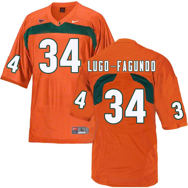 Nike Miami Hurricanes #34 Elias Lugo-Fagundo College Football Jerseys Sale-Orange